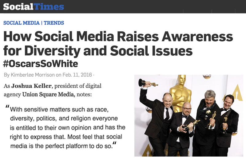#OscarsSoWhite: How Social Media Raises Awareness for Diversity and Social Issues
